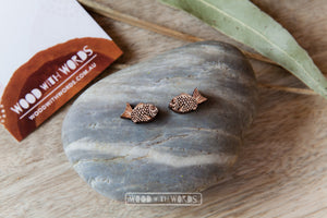 Fish Seabream Wooden Stud Earrings - Wood With Words