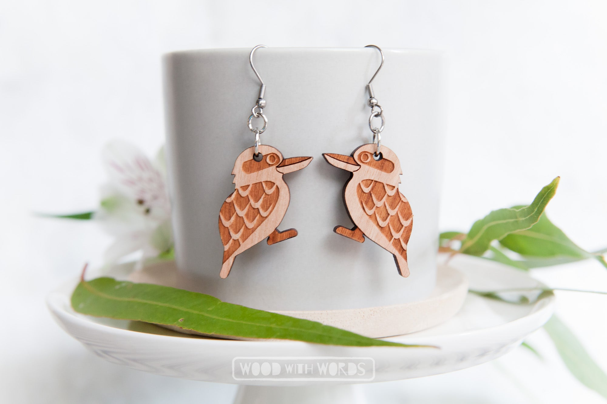 Kookaburra Earrings by Wood With Words