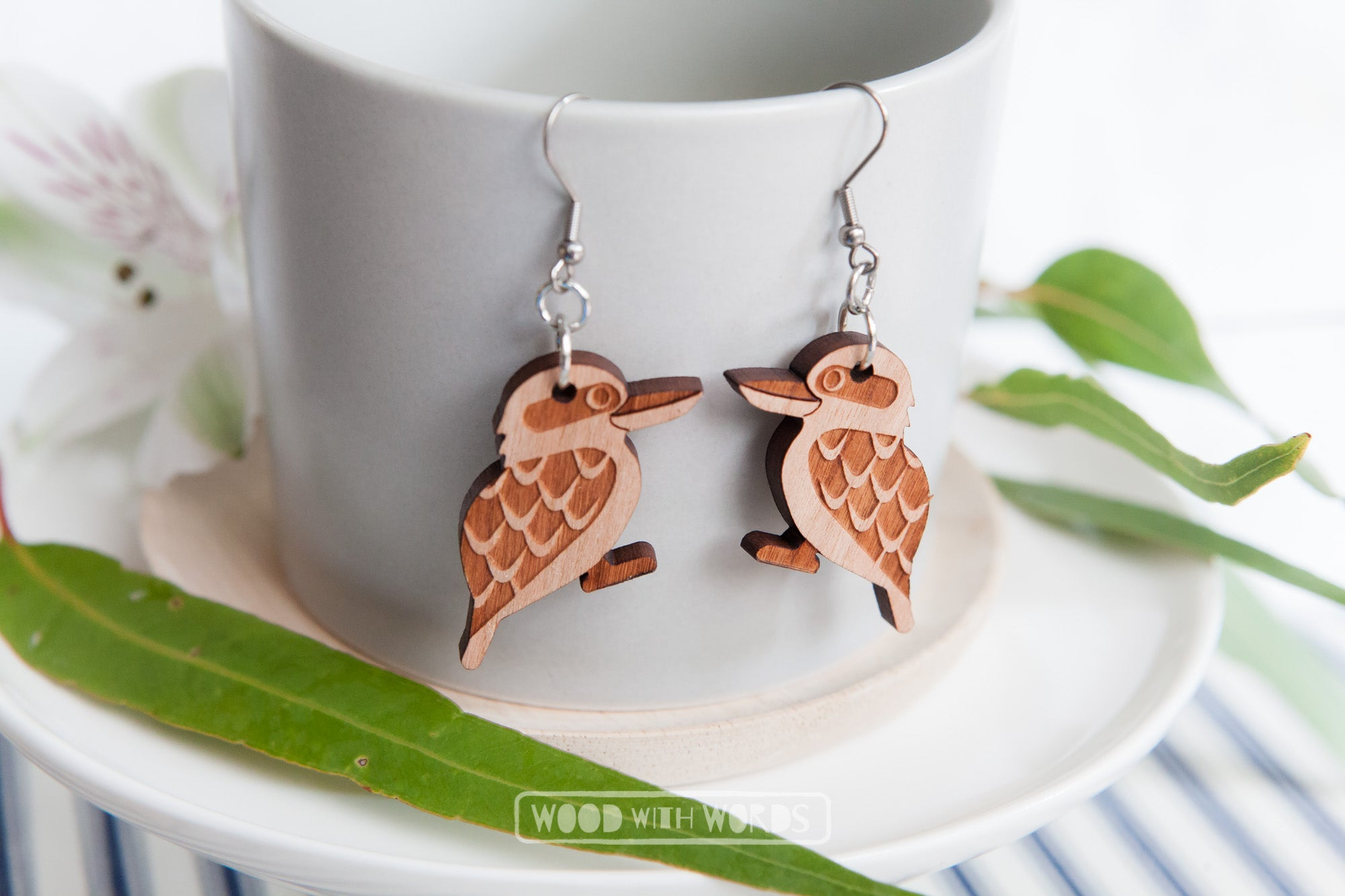 Kookaburra Dangle Earrings by Wood With Words - Silver Hooks