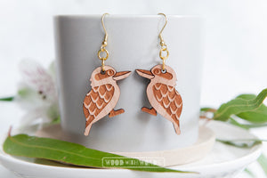 Kookaburra Earrings by Wood With Words - Gold Hooks