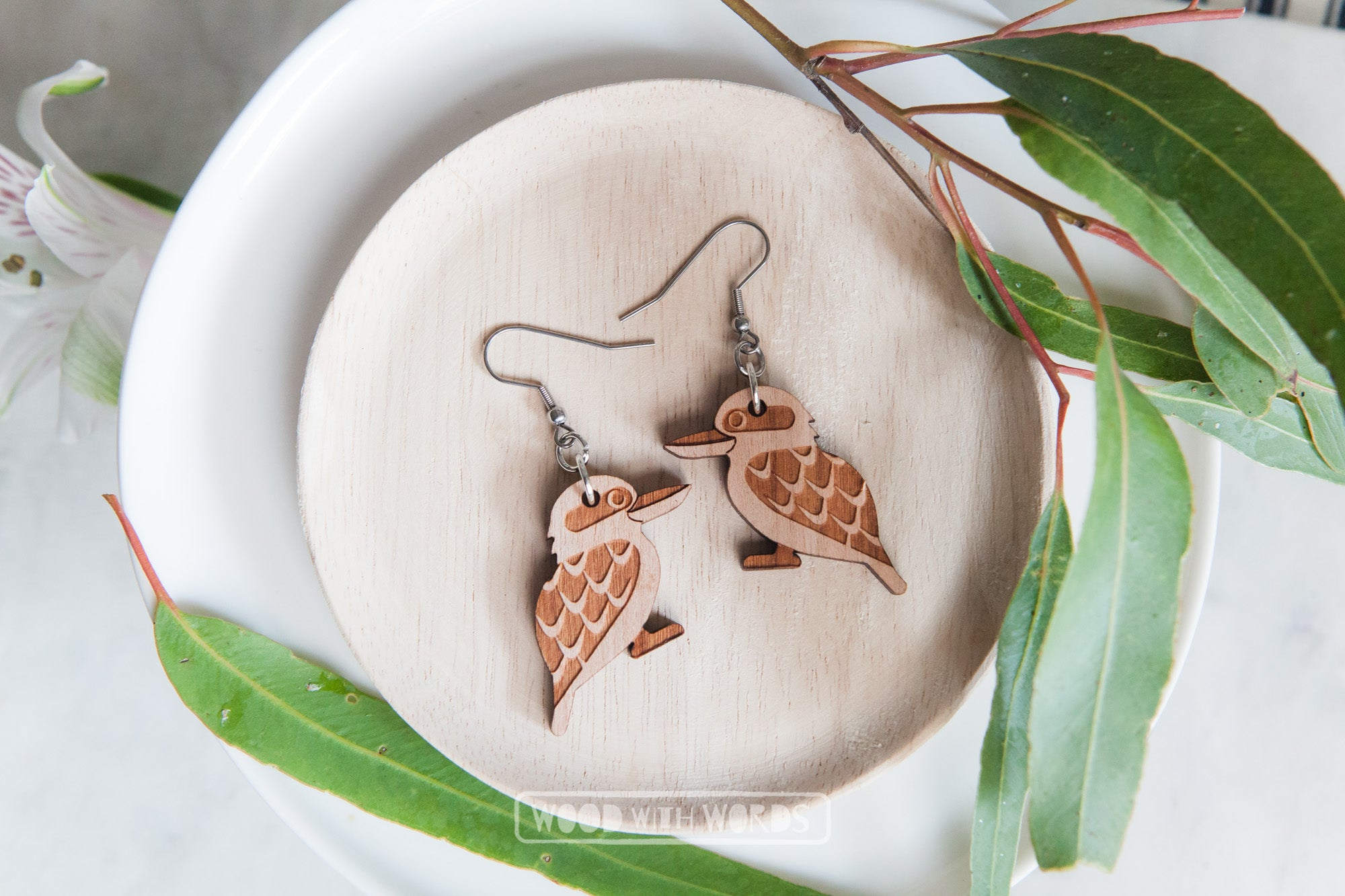 Kookaburra Wooden Dangle Earrings - Silver Hooks