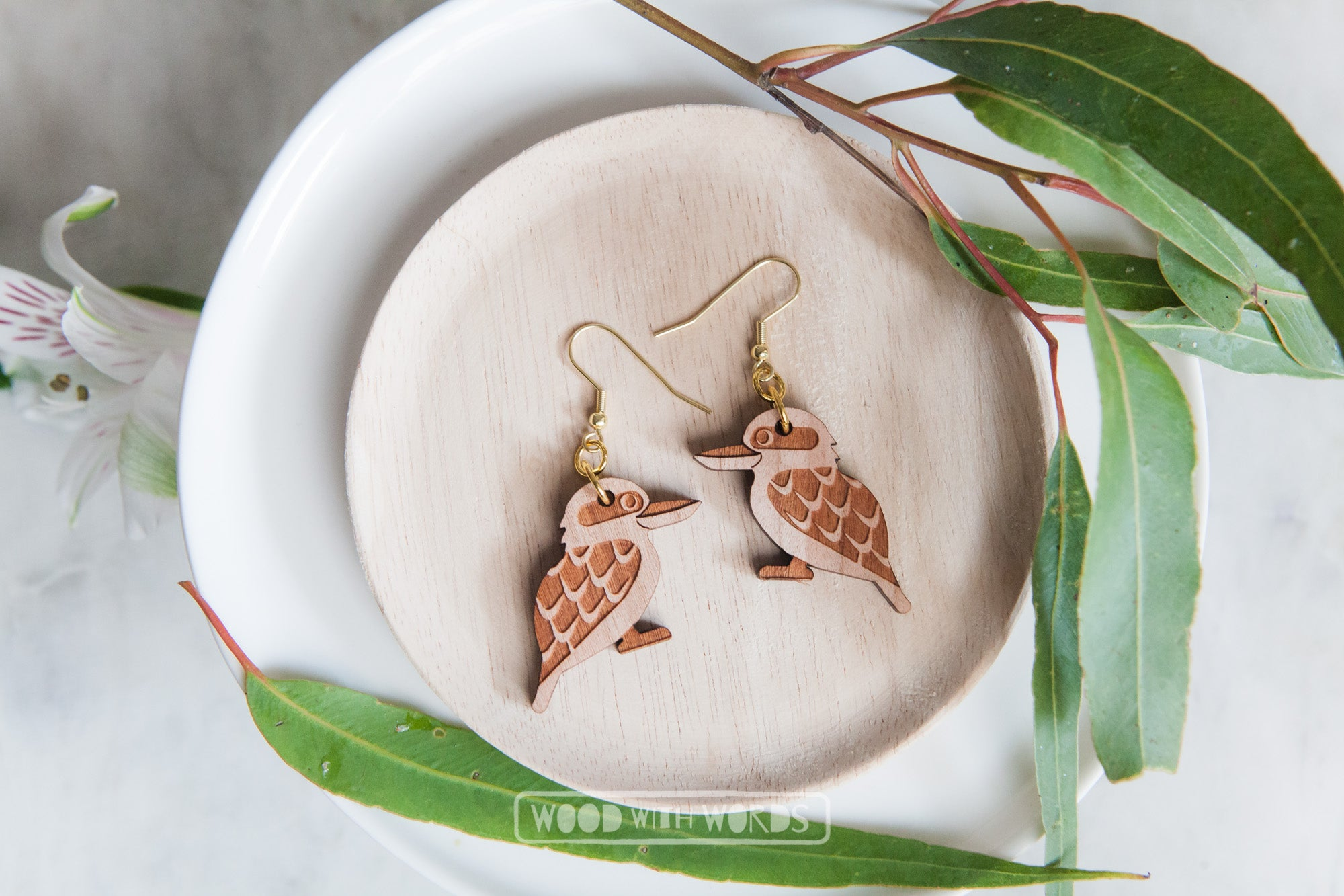 Kookaburra Wooden Dangle Earrings - Gold Hooks