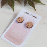 Rain Confetti Wooden Stud Earrings - Wood With Words