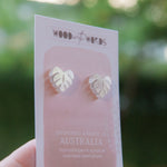 White Heart Monstera Stud Earrings - Wood With Words