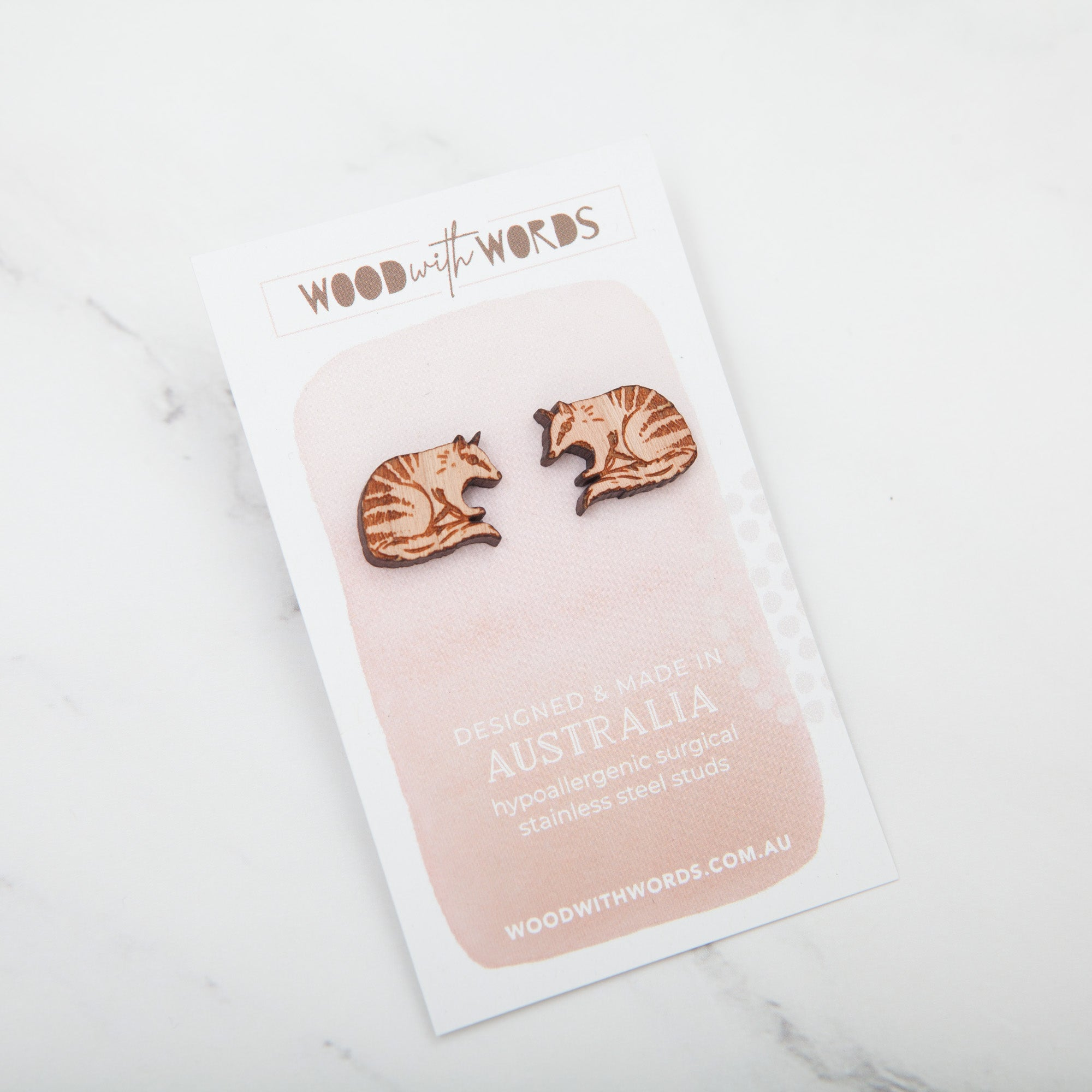 Numbat Wooden Stud Earrings - Wood With Words