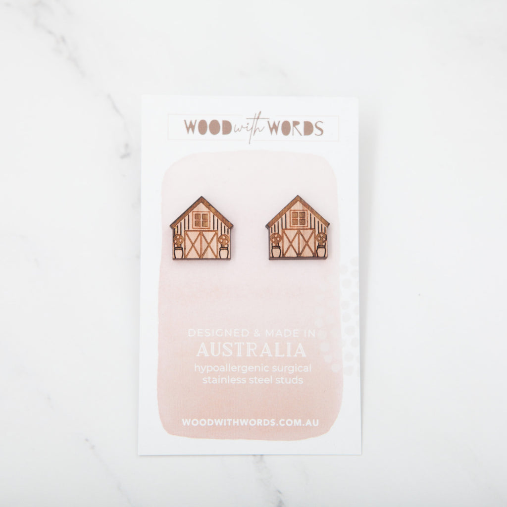 Barnhouse Wooden Stud Earrings - Wood With Words