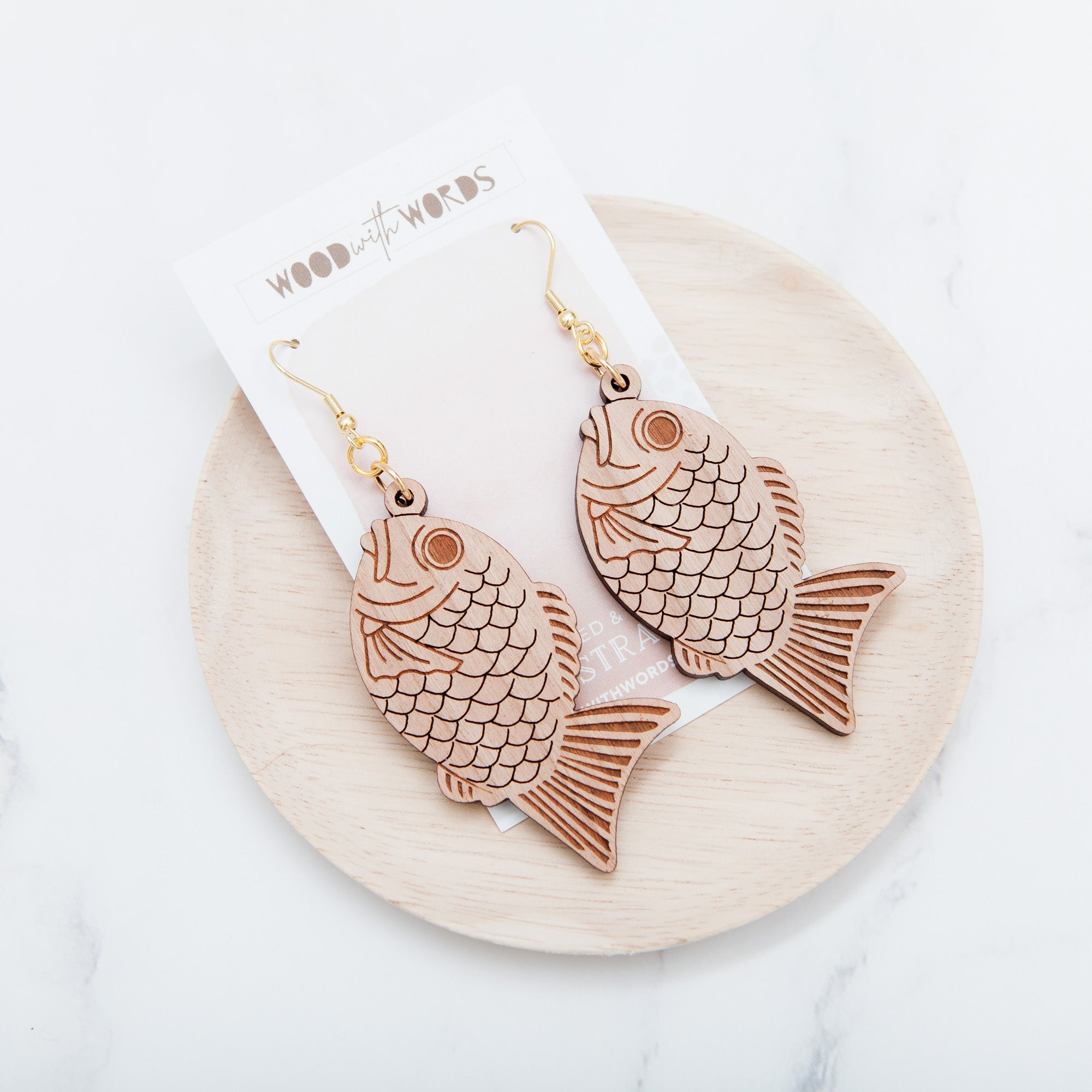 Taiyaki Seabream Dangle Earrings - Wood With Words
