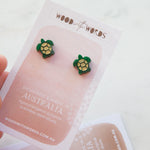 Green Sea Turtle Stud Earrings - Wood With Words