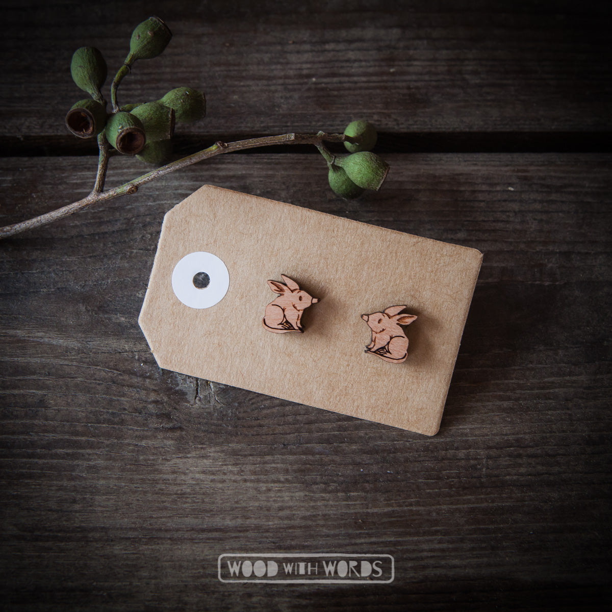 Bilby Wooden Stud Earrings - Wood With Words