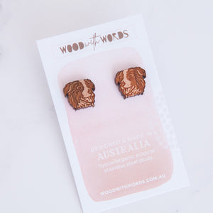 Border Collie Wooden Stud Earrings - Wood With Words