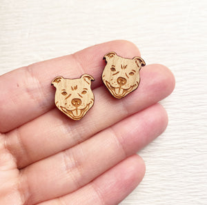 Staffie Wooden Stud Earrings - Wood With Words