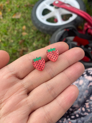 Strawberry Stud Earrings - Wood With Words