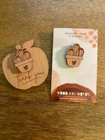 Potted Cactus Wooden Pin - Wood With Words
