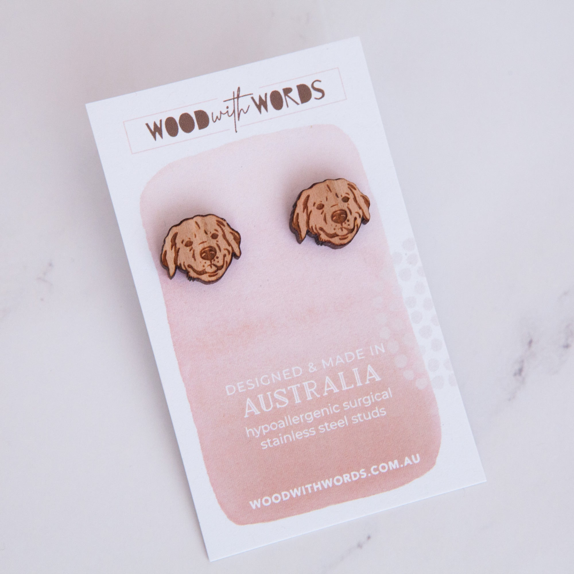 Golden Retriever Wooden Stud Earrings - Wood With Words