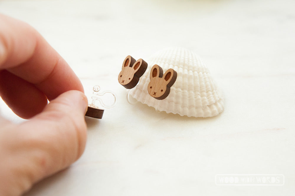 Clip On Bunny Rabbit Wooden Stud Earrings - Wood With Words