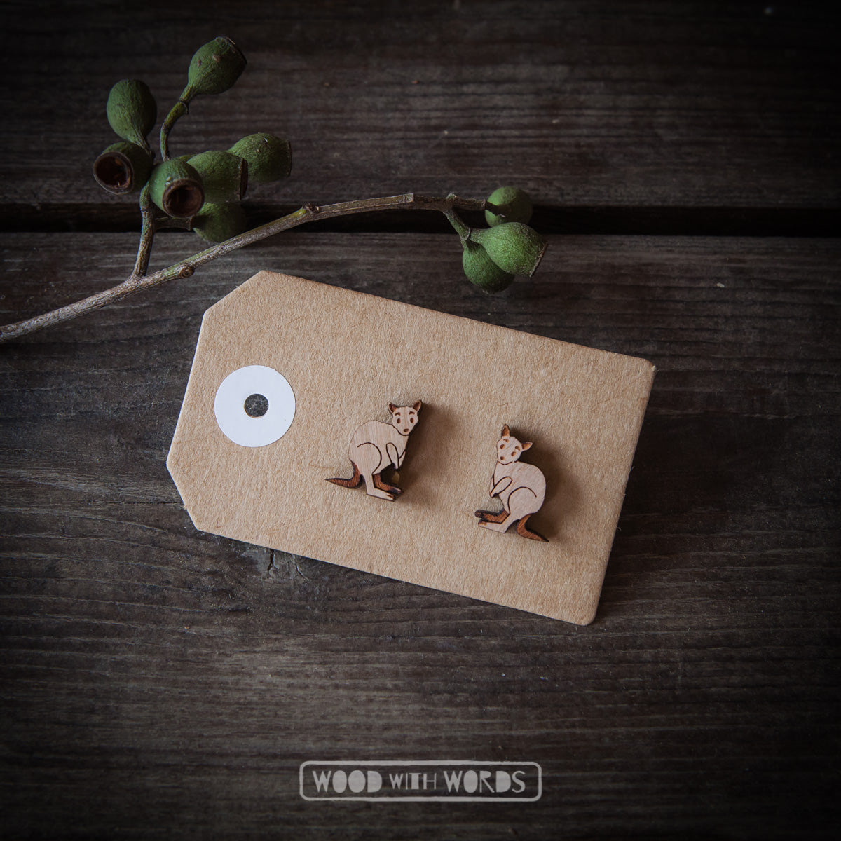 Kangaroo Wooden Stud Earrings - Wood With Words