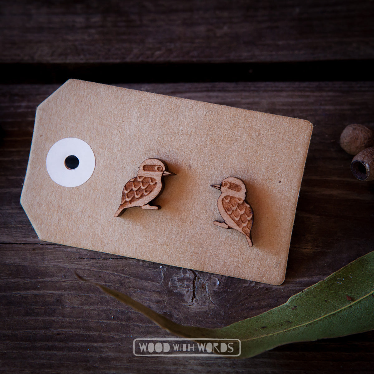 Kookaburra Wooden Stud Earrings - Wood With Words