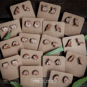 Wombat Wooden Stud Earrings - Wood With Words
