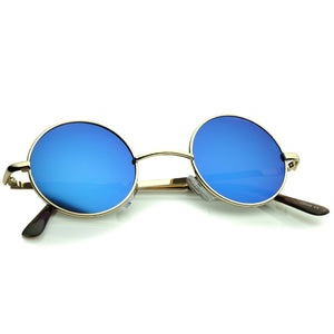 MIRRORED LENS CIRCLE SUNGLASSES 42MM