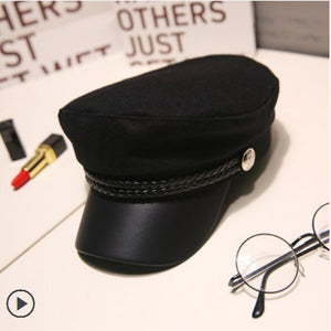 Unisex PU Leather Military Hat - Sprouts Gift
