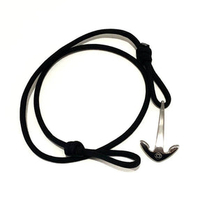 BRACELET BLACK ADJUSTABLE ANCHOR