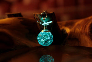 Hiruseki Yu Yu Hakusho Necklace / Glow in the Dark / Hiei and Yukina's Tear Necklace / Cracked Aqua Bead /