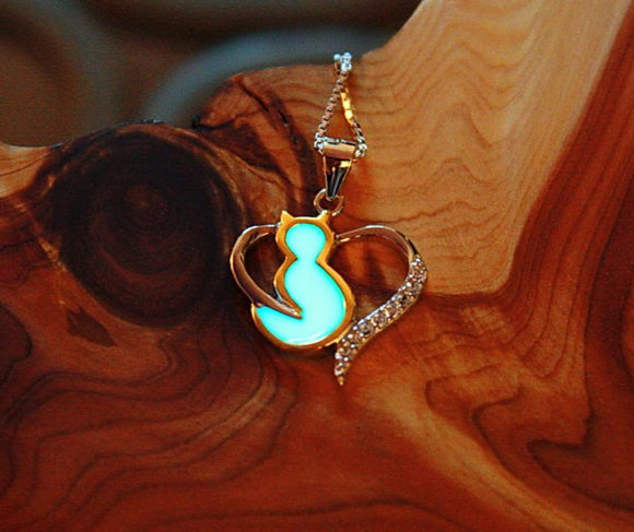 CAT Necklace Glow in the Dark / Sterling Silver Cat / Heart Zirconia /