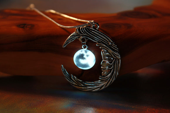 Silver Moon Pendant Glow in the Dark / Tiny Glass moon /