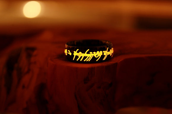 Lord of The Rings Black Ring / Stainless Steel Ring / LOTR Ring / The Hobbit / LOTR Silver One Ring Glow in the Dark / Lord of the Rings / Precious ring / Available in Solid Gold /