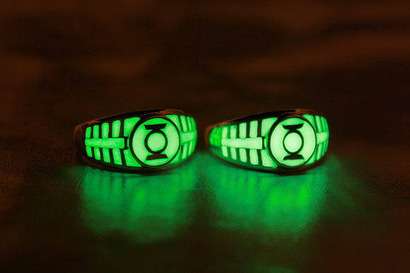 Green Lantern Glow in the Dark Ring / Sterling Silver 925 Ring /