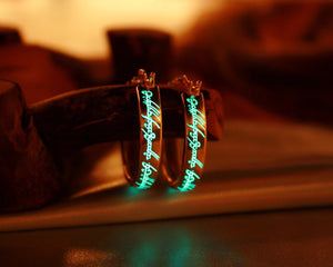 LOTR Gold Earrings Glow in the Dark / Sterling Silver 925 Earrings /