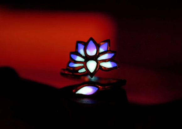 Lotus Ring Glow in the Dark / Flower Ring / Sterling Silver Ring /