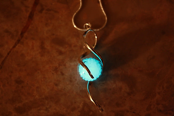Glass Bubble Pendant Glow in the Dark / Silver Twist Necklace / Glow Nuggets Pendant /