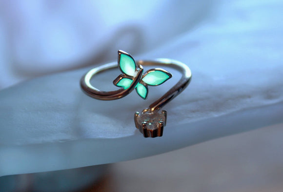Butterfly Ring Glow in the Dark / Sterling Silver 925 Ring / Crystal heart / Adjustable Ring /