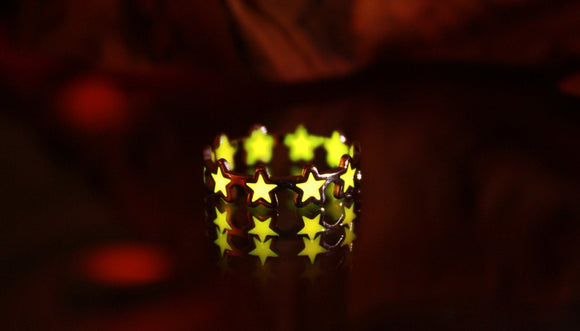 Rose Gold Stars Ring Glow in the Dark / Stainless Steel Ring /