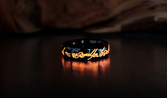 Lord of The Rings BLACK Ring / Stainless Steel Ring / LOTR Ring / The Hobbit / Glow in the Dark / Precious ring / Available in Solid Gold /