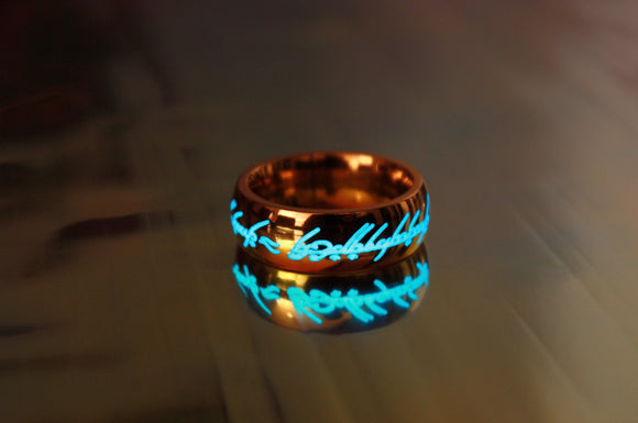 Rose Gold One Ring / Glow in the Dark / Lord of the Rings / Stainless Steel / LOTR / Precious ring / Available in Solid Gold /