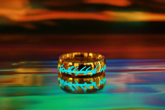 Gold One Ring LOTR Glow in the Dark / Lord of the Rings / Elven Ring / Precious ring / Stainless Steel Ring / Gold Ring / The Hobbit /