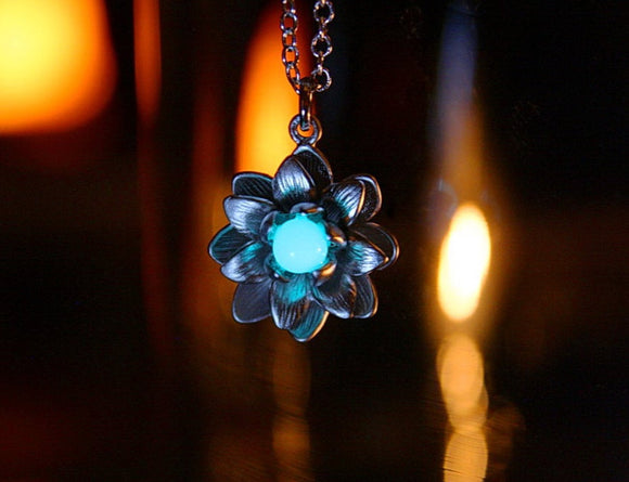 Lotus Flower Pendant Glow in the Dark / Silver Lotus / Rose Gold Lotus /