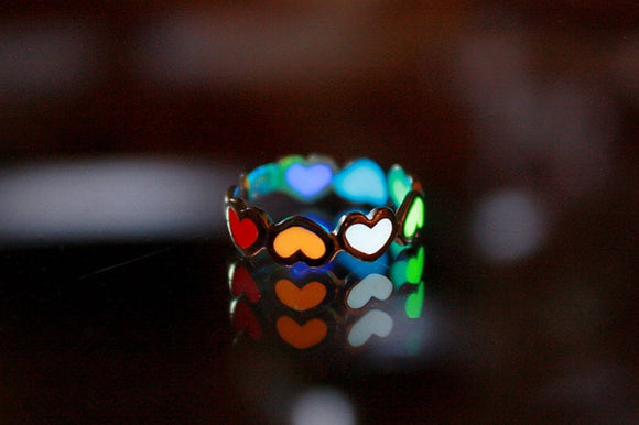 Hearts Toe Ring / Glow in the Dark / Sterling Silver Toe Ring / Multi colors /