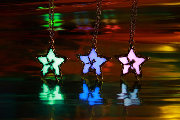 Fairy in Star Pendant / Glow in the Dark / Star Necklace / Fairy Necklace/