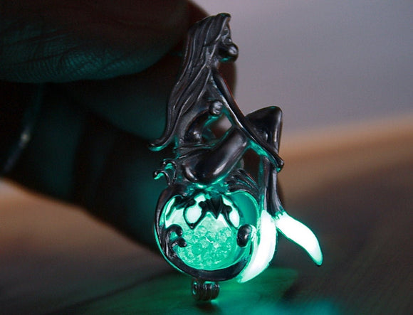 Mermaid Locket Glow in the Dark / Sterling Silver 925 Necklace / Glass bubble pendant /