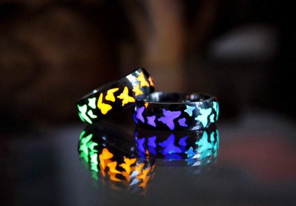 Butterflies Band Ring / Glow in the dark / Stainless Steel ring / Luminous Ring /