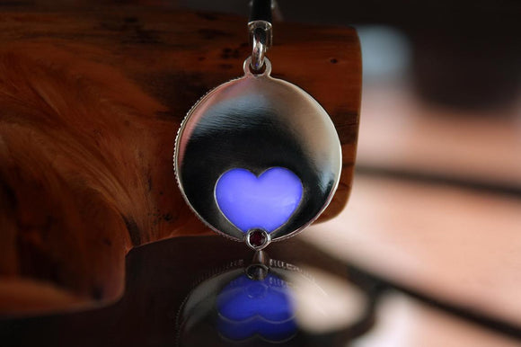 Heart Necklace Glow in the Dark / Sterling Silver Pendant / Lucie Larose Design /