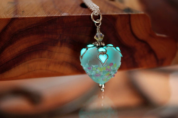 White Heart Pendant / Glow in the Dark / Lampwork Glass Heart /
