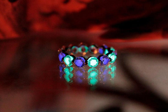 Eternity Cubic Zirconia Silver Ring / Glow in the Dark / Sterling Silver 925 Ring /