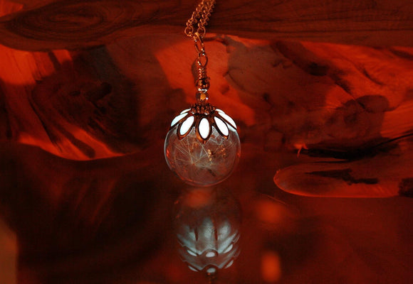 Dandelion Seeds Pendant / Glow in the Dark / Dandelion Pendant / Glass Bubble Pendant /