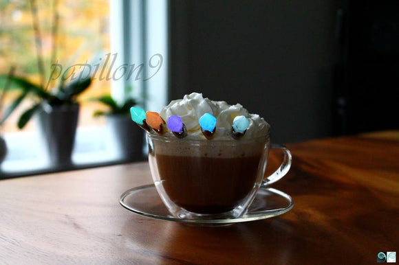 Coffee Spoon Glow in the Dark 6 pcs / Small Tea Spoons / Diamond Glow in the dark / 6 Stainless Steel Spoons /
