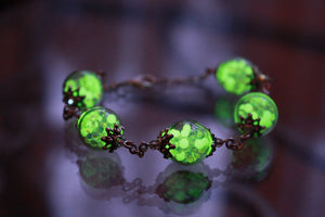 Bracelet Glow in the Dark / Iridescent Glass balls / Glass bubble Bracelet / Glow in the Dark nuggets /