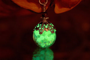 IRIDESCENT Glass Pendant / Glow in the Dark / Glass Bubble Pendant / Glass Necklace /